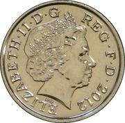 5 pence Elizabeth II (4e effigie, type blason, acier plaqué nickel) -  avers