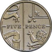 5 pence Elizabeth II (4e effigie, type blason, acier plaqué nickel) -  revers