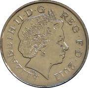 10 pence Elizabeth II (4e effigie, type blason, acier plaqué nickel) -  avers