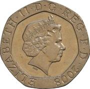 20 pence Elizabeth II (4e effigie, type blason) -  avers