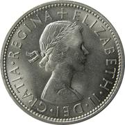 """2 shillings Elizabeth II (1ère effigie, sans """"BRITT:OMN:"""") -  avers"""