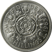 "2 shillings Elizabeth II (1ère effigie, sans ""BRITT:OMN:"") -  revers"