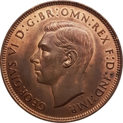 "1 penny George VI (avec ""IND:IMP."") -  avers"
