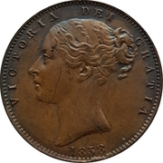 """1 farthing Victoria (""""young head"""", cuivre) – avers"""