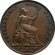 """1 farthing Victoria (""""young head"""", cuivre) – revers"""