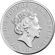 5 Pounds - Elizabeth II (2 oz Fine Silver; Falcon of the Plantagenets) -  avers