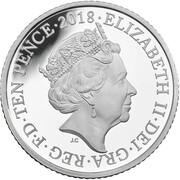 10 Pence - Elizabeth II (D -  Double-decker Bus; Silver Proof) -  avers