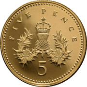 5 Pence - Elizabeth II (4th Portrait; Crowned Thistle, Gold Proof) -  revers