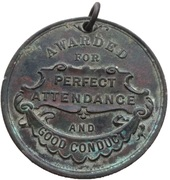 School Attendance Medal - Hampshire County Council (Perfect Attendance And Good Conduct) – revers