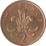 2 pence Elizabeth II (3e effigie, bronze) -  revers