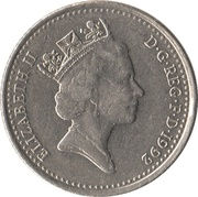 10 pence Elizabeth II  (3e effigie, petit module, cupronickel) -  avers