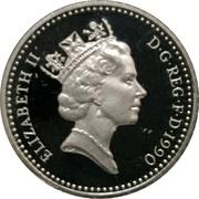 5 pence Elizabeth II (3e effigie, argent, petit module, piédfort) -  avers