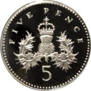 5 pence Elizabeth II (3e effigie, argent, petit module, piédfort) -  revers