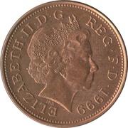 2 pence Elizabeth II (4e effigie, type plumes, bronze, non-magnétique) -  avers