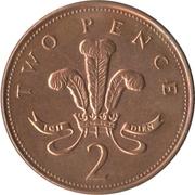 2 pence Elizabeth II (4e effigie, type plumes, bronze, non-magnétique) -  revers
