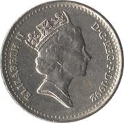 5 pence Elizabeth II (3e effigie, cupronickel, petit module) -  avers
