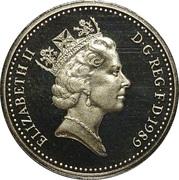 1 livre Elizabeth II (3e effigie, chardon écossais, laiton) -  avers