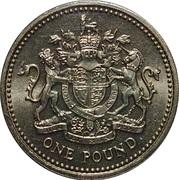 1 livre Elizabeth II (2e effigie, armes royales, laiton) -  revers