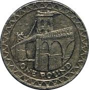 1 livre Elizabeth II (4e effigie, pont suspendu de Menai au pays de Galles, laiton) -  revers