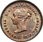 "¼ de farthing Victoria (""young head"", cuivre) -  avers"