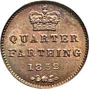 "¼ de farthing Victoria (""young head"", cuivre) – revers"