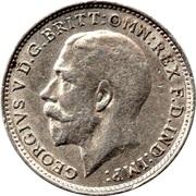 3 pence George V (maundy coinage, 1ère effigie, argent 925‰) -  avers