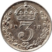3 pence George V (maundy coinage, 1ère effigie, argent 925‰) -  revers