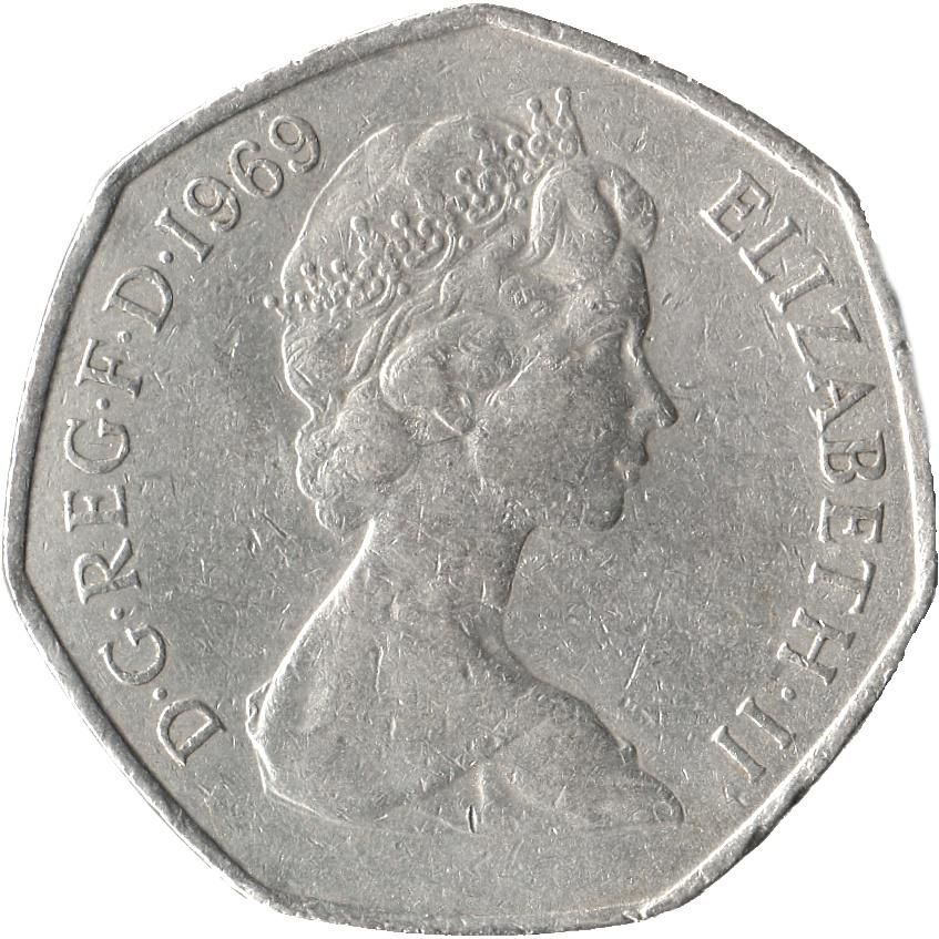 50 Nouveaux Pence Elizabeth Ii 2e Effigie Royaume Uni