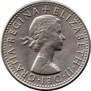 "6 pence Elizabeth II (1ère effigie, sans ""BRITT:OMN:"") -  avers"