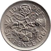 "6 pence Elizabeth II (1ère effigie, sans ""BRITT:OMN:"") -  revers"