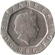 20 pence Elizabeth II (4e effigie, type rose) -  avers