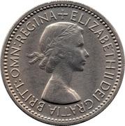 "1 shilling Elizabeth II (1ère effigie, avec ""BRITT:OMN:"", blason de l'Angleterre) -  avers"