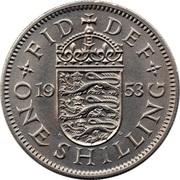 "1 shilling Elizabeth II (1ère effigie, avec ""BRITT:OMN:"", blason de l'Angleterre) -  revers"