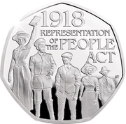 50 Pence - Elizabeth II (5th portrait; People Act 1918, Silver Piedfort) -  avers