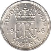 "6 pence George VI (avec ""·IND·IMP"", argent) -  revers"