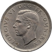 "2 shillings George VI (cupronickel, avec "":IND:IMP:"") -  avers"