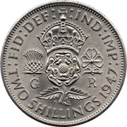 "2 shillings George VI (cupronickel, avec "":IND:IMP:"") -  revers"