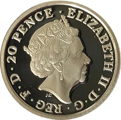 20 Pence Elizabeth Ii 5th Portrait Britannia Royaume Uni
