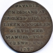 ½ Penny (Crewkerne Somerset Sparks and Gridley) – revers