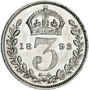 """3 pence Victoria (maundy coinage, """"old head"""") -  revers"""