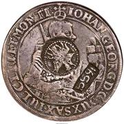 "Jefimok Rouble - Alexey Mikhailovich (Countermarked over ""Saxony Taler of Johann Georg I 1632"") – avers"