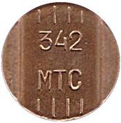 Jeton de téléphone -  342 MTS(Perm) – avers
