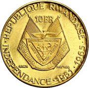 10 Francs (Président Grégoire Kayibanda) – revers