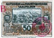 50 Heller (Saalfelden; Brown handstamped issue) – avers