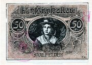 50 Heller (Saalfelden; Brown handstamped issue) – revers