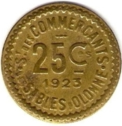 25 Centimes - Syndicat des commerçants - Sables d'Olonne [85] – revers