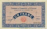 1 franc - Chambre de Commerce de St Dizier [52] – avers