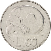 100 lires (Chien et chat) – revers