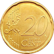 20 cents d'euro (1er type, 2e carte) -  revers
