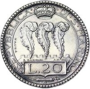 20 Lire (Prova) – revers